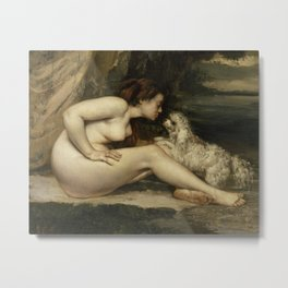 Gustave Courbet - Nude Woman with a Dog Metal Print
