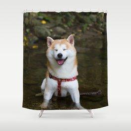 KUMA: Shiba In River 2 Shower Curtain