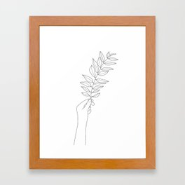 Minimal Hand Holding the Branch III Framed Art Print