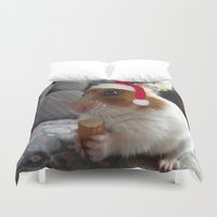 hamster Duvet Covers featuring Christmas Hamster by VHS Photography