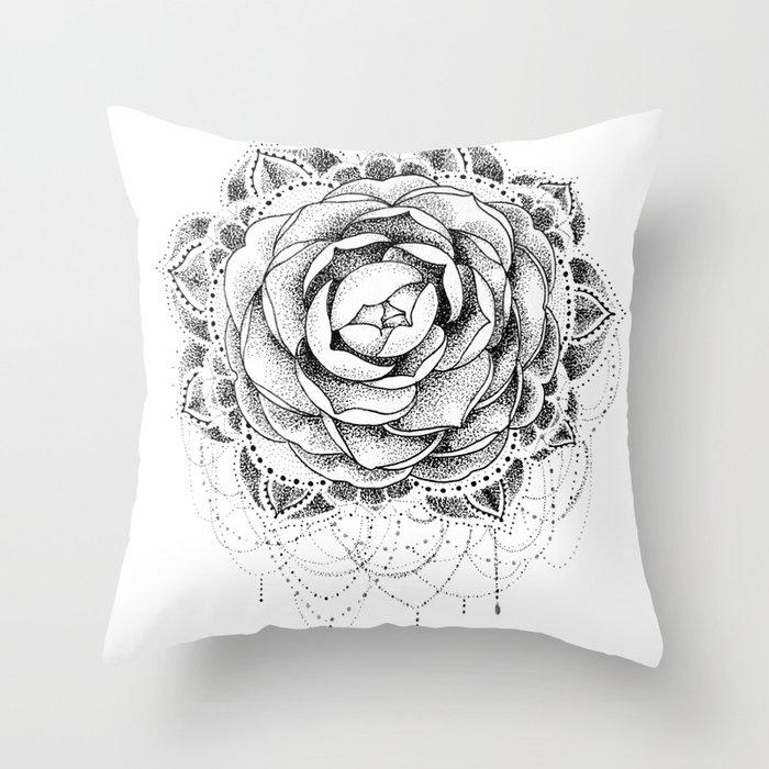 c342f9f73 Camellia Dotwork Mandala Throw Pillow by robinelizabethart | Society6