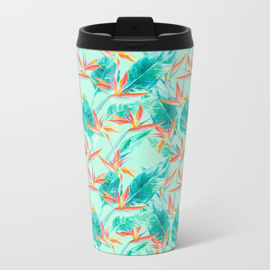 Birds Of Paradise Mint Metal Travel Mug
