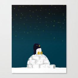 Star gazing - Penguin's dream of flying Canvas Print