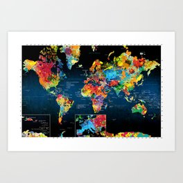 World Map Black - 2 Art Print