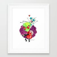 invader zim Framed Art Prints featuring Invader Zim Hug by Super Group Hugs