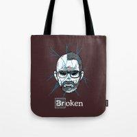 broken Tote Bags featuring Broken by Mike Handy Art