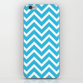 sky blue, white zig zag pattern design iPhone Skin