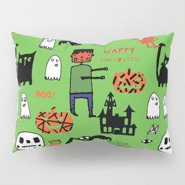 Cute Frankenstein and friends green #halloween Pillow Sham