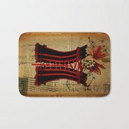 elegant girly lily flower newspaper print  black red corset Bath Mat