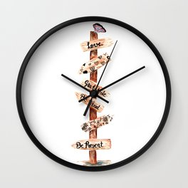 Directions Doodle Art Wall Clock