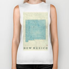 New Mexico State Map Blue Vintage Biker Tank