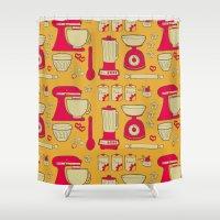 kitchen Shower Curtains featuring Retro Kitchen by Doris & Fred