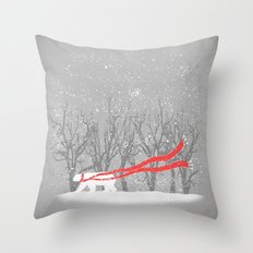 The Red Scarf Throw Pillow