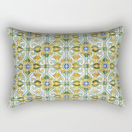 Seamless Floral Pattern Ornamental Tile Design : 9 yellow, green Rectangular Pillow