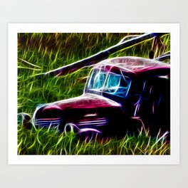 Truck Gone to Pasture Art Print
