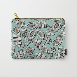 deco feathers mint sienna Carry-All Pouch