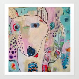 Dog Bounding Through Flower Garden Art Print