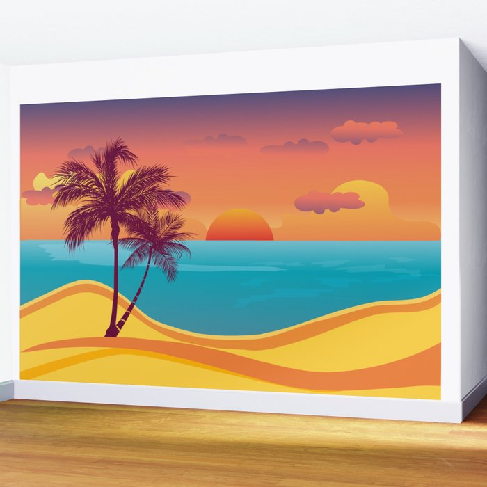 Tropical Beach Sunset Wall Mural By Aptine Society6