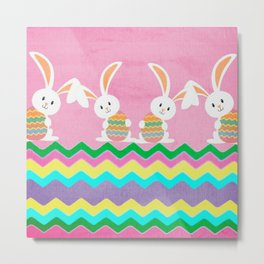 Easter Chevron Pattern Metal Print
