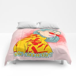 CUZ IM KOOL LIKE DAT - Cool Asian Female with Blue Hair Digital Drawing Comforters