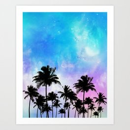Galaxy and coconut trees Art Print