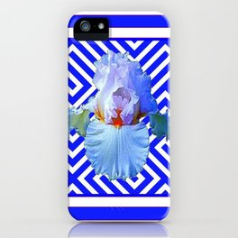 CONTEMPORARY BLUE & WHITE PATTERN IRIS PATTERN iPhone Case