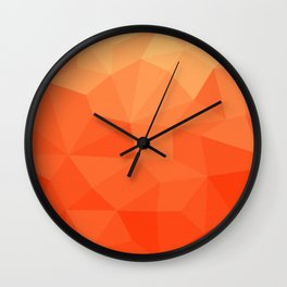 Abstract Geometric Gradient Pattern between Pure Red and very light Orange Wall Clock