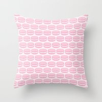 macaroon Throw Pillows featuring French Macaron Pattern - Cute Food Art - Pink Macaroon by French Macaron Art Print and Decor Store