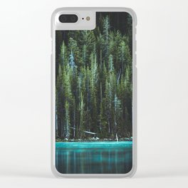 Nature Photo - Turquoise Blue Lake and Tall Pines Clear iPhone Case