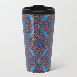 Gorgeous Blue and Orange Beadwork Inspired Print Travel Mug