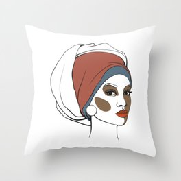 African American woman in headscarf with makeup. Abstract face. Fashion illustration Throw Pillow