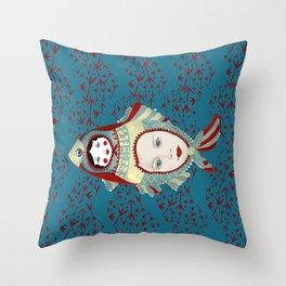 Petrol Blue Mermaidoska Throw Pillow
