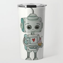 The feeling when your cute little robot brings you a cupcake in the morning :) Travel Mug