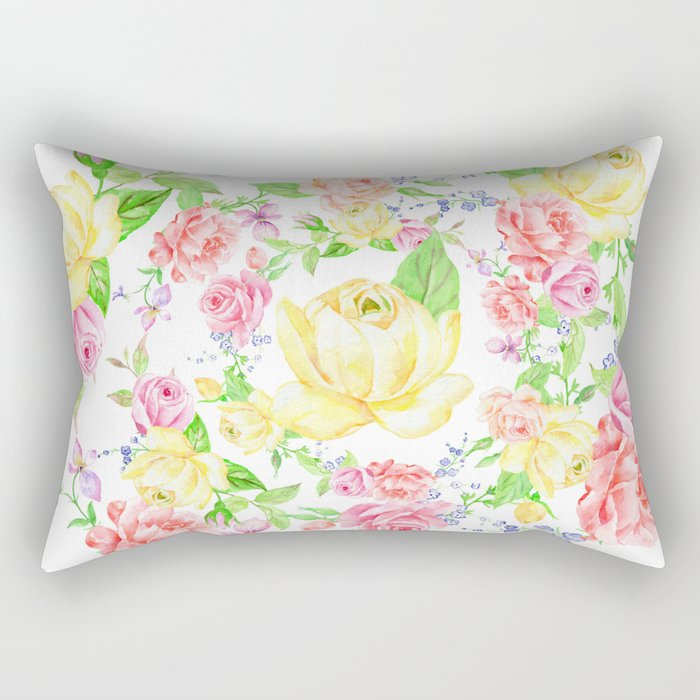 Bouquet of PINK, RED & YELLOW rose - wreath Rectangular Pillow