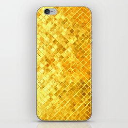 Give me Gold: festive, golden, fashionable, 3-d, glittery, Christmas, cheerful, lattice design iPhone Skin