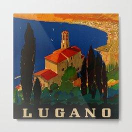 Vintage Swiss Riviera Travel Poster Lugano Lake Monte San Salvatore Metal Print