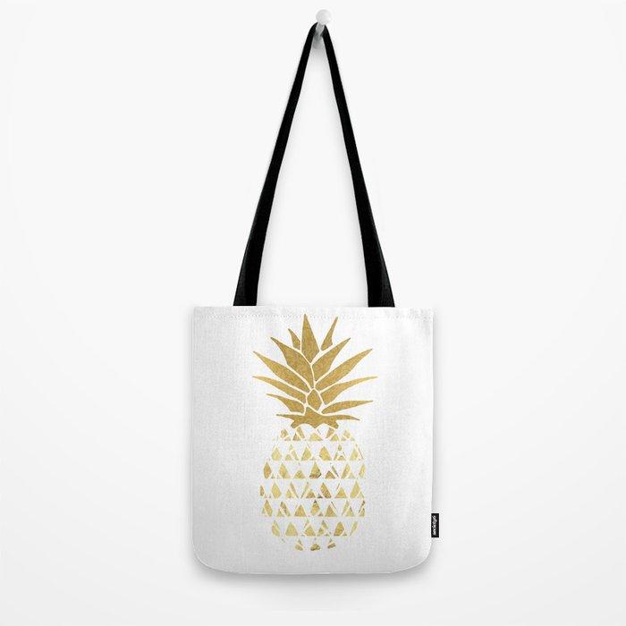 white & gold pineapple Tote Bag