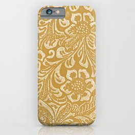 Tan & Cream Tooled Leather iPhone Case