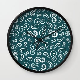 White spirals on dark turquoise abstract pattern Wall Clock