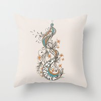 peacock Throw Pillows featuring Peacock by Tracie Andrews