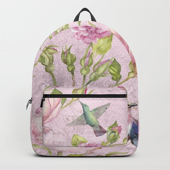 Floral painterly background in pink with Roses Flowers and Birds Backpack