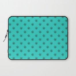 Black on Turquoise Snowflakes Laptop Sleeve