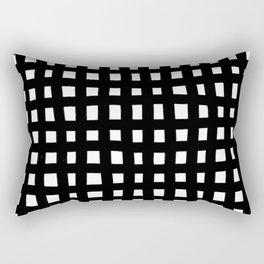 Brush grid black white seamless pattern. Abstract monochrome check background, crossing brush Stroke Rectangular Pillow