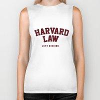 law Biker Tanks featuring Harvard Law by FASHIONY