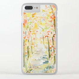 Watercolor Autumn Woodland Clear iPhone Case