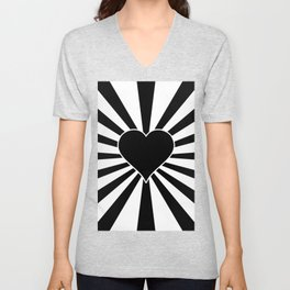 Black and White Love Heart Valentines Bursting Heart Unisex V-Neck