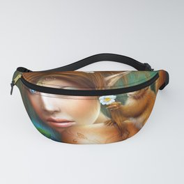 Marvelous Mystic Magic Pixie Fay Adorable Squirrel On Shoulder UHD Fanny Pack