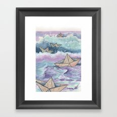 Paper ships and sea Framed Art Print