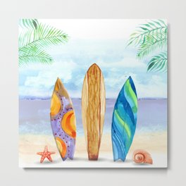 Watercolor surfboard scene Metal Print