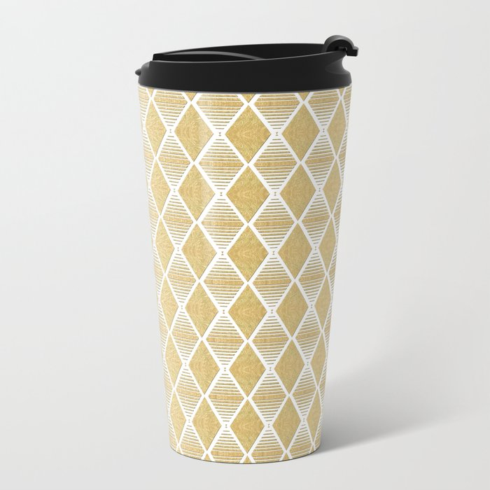 White and Gold Geometric Pattern Metal Travel Mug